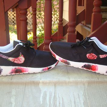 Customized Floral Nike Roshe Runs with Paint Soles