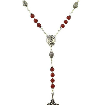 Sterling Silver St. Michael Rosary Necklace Carnelian 6mm Crucifix & St Michael Medal