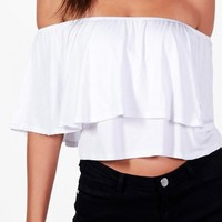 Tall Lily Frill Crop Top - WHITE   Boohoo