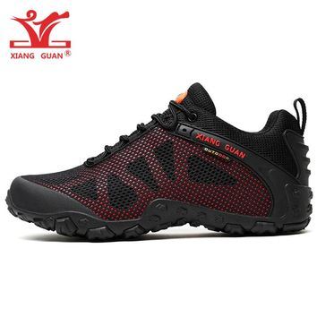 Man Hiking Shoes For Men Breathable Trekking Boots Black Red Hunting Tactical Climbing Mountain Sports Outdoor Walking Sneakers