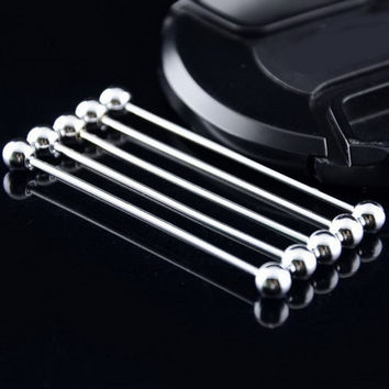Hot Fashion Men Boy Silver Gold Shirt Collar Pin Tie Clip Clasp Brooch Pin Brooches Bar Party Gift Cusp  6.5 CM VCC29 P10