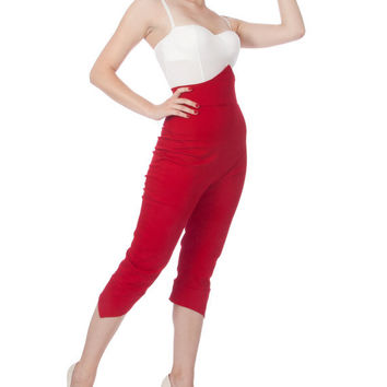 Penny Super High Waisted Pointy Capri Pants in Red Stretch Cotton Twill (Size XS-XL)