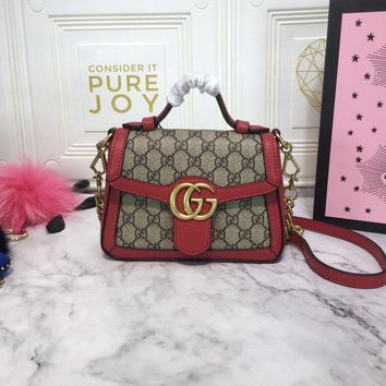 DCCK 1605 Gucci GG Marmont Fashion Mini Handbag 21-15.5-8cm Red