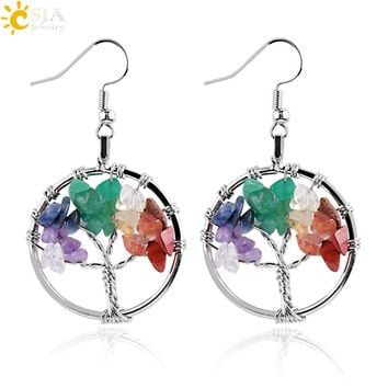 CSJA Tree of Life Women Drop Earrings Round Natural Chip Gem Stone Opal Tiger Eye White Crystal Dangle Hook Earring Jewelry E514