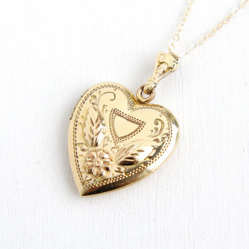 Vintage Gold Filled Heart Locket Necklace- 1940s WWII Era Sweetheart Flower Repousse Jewelry