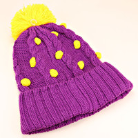 Pom Pom Polka Dot Knitted Purple Beanie