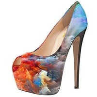 FSJ Women Gorgeous Super High Heels Dress Shoes Multicolored Peep Toe Platform Pumps Size 4-15 US