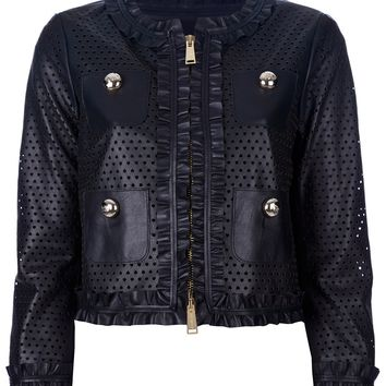 Dsquared2 Cropped Perforated Leather Jacket