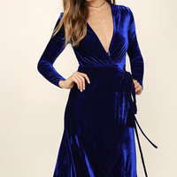 Enchant Me Cobalt Blue Velvet Midi Wrap Dress