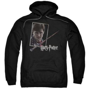 Harry Potter Harry's Wand Portrait Licensed Adult Hoodie