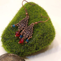 Anna Inspired Floral Copper Heart Chandelier Earrings