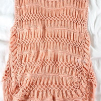 "~~~ KILLER CONFECTION ~~~ QUED LONDON OPEN KNIT ""CROCHET"" APRICOT TANK/TUNIC ~ M"
