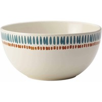 "Rachael Ray Cucina Sun Daisy Dinnerware 5-1/2"" Stoneware Cereal Bowl, Agave Blue and Pumpkin Orange - Walmart.com"