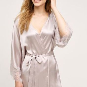 Eloise Laced Silk Robe in Mauve Size: