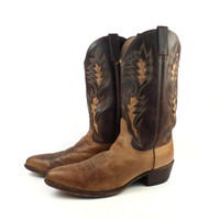 Cowboy Boots Vintage 1980s  Leather Two tone Brown Dan Post Men's size 11 1/2 D