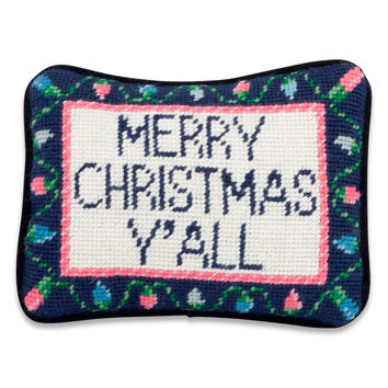 Merry Christmas Yall Needlepoint Pillow