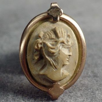 Vintage Tie Tack - Little Lava Cameo - Carved Lava in 12k Gold Filled Mounting