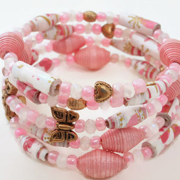 Pink White Gold Paper Bead Memory Wire Bracelet, Paper Bead Bracelet, Wrap Bracelet, Beaded Bracelet, Paper Beads, Butterfly Bracelet,