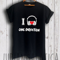 i love music one direction shirt 1 direction merch tshirt black color unisex size