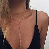 ONETOW Sexy Beads Chain Lariat Choker Necklaces Long multilayer Water Drop Simple party kolye Statement Jewelry for Women collier femme