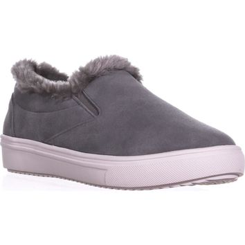 STEVEN Steve Madden Cuddles Fashion Sneakers, Grey Suede, 10 US