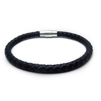 Men's leather bracelet/Black braided leather bracelet/Mens Jewelry/Men's Classic Jewelry/Gift for men/Mens bracelet/Leather bracelet