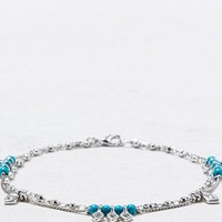 AEO Women's Turquoise Charm Anklet (Silver)