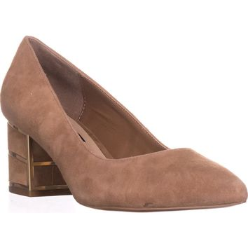 Steve Madden Buena Pointed Toe Block Heel Kitten Pumps, Sand Suede, 7.5 US
