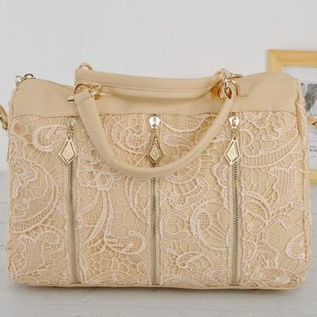 Leather and lace over handbag / purse