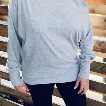 Heather Gray Off The Shoulder Long Sleeve Top with Edgy Zipper Detail