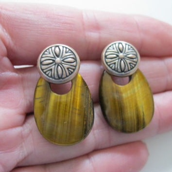 Shube's Tiger Eye and Sterling Pierced Earrings Southwestern Look