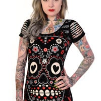 Rockabilly Love Day of the Dead Flower Candy Sugar Skull Cut Out Shoulder Top