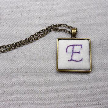 Custom letter necklace Hand embroidered monogrammed gifts for women Personalized handwriting jewelry Initial pendant