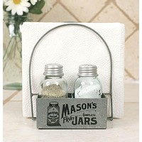 Mason's Jars Box Salt Pepper & Napkin Caddy