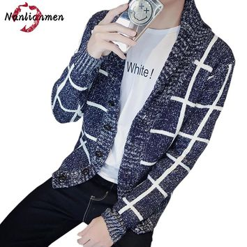 2017 Autumn Winter New Striped Cardigan Sweater Men plaid cardigan masculino Single Breasted Male Casual Sweater Wool Coat