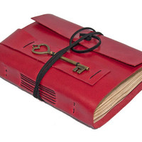 Red Leather Journal with Tea Stained Paper and Key Bookmark