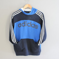 Adidas Hoodie Blue Big Adidas Logo 3 Stripes Sweatshirt Fleece Lining Cotton Pullover Loose-fit Vintage Minimalist 90s Sweater Size S - M