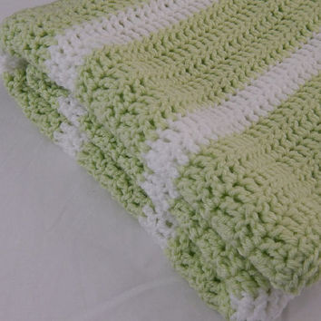 Light Green and White Striped Baby Blanket Crochet Lap Blanket Throw Blanket Unisex Baby Afghan Girl or Boy