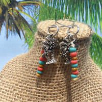 Independence Day Sale Palm tree earrings ~ key west colors~ dangle charms ~ wire wrapped jewelry ~ beaded earrings ~ tropical Jewelry ~ bohe