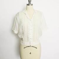 Vintage 1950s Blouse - Sheer Ivory Embroidered Lace Nylon Chiffon Top 50s - Large / Medium