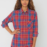 rsact410sw - Unisex Indigo Plaid Cotton Twill Long Sleeve Button-Up with Pocket