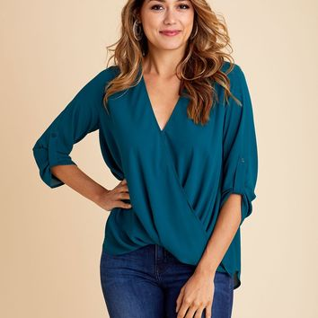 Lush Surplice Faux Wrap Top