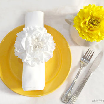 6 Pieces. 4.2inch White Sunshine Yellow Artificial Peonies Floral Napkin Rings Set. Flower Napkin Holders. Bridal Shower Wedding Table Deocr