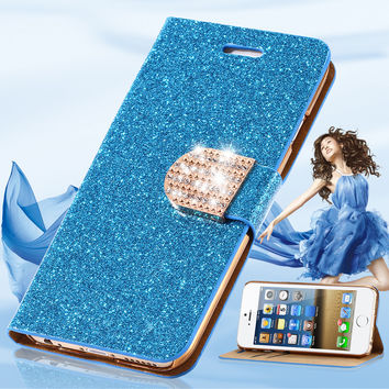 For iPhone 7 Plus Wallet Pouch Case Fashion Luxury Leather Glitter Crystal Diamond Cover For iPhone 5 5S SE 6 6S Plus 7 Plus Bag