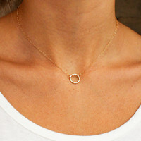 Hammered Ring Necklace by Christine Elizabeth Jewelry
