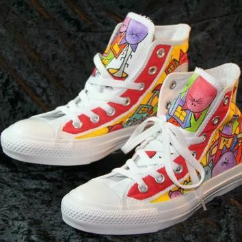 hand painted converse shoes women men cat design