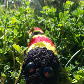 Crochet Coral Snake, Red Black and Yellow, Stuffed Animal Plush Toy, Ready to Ship