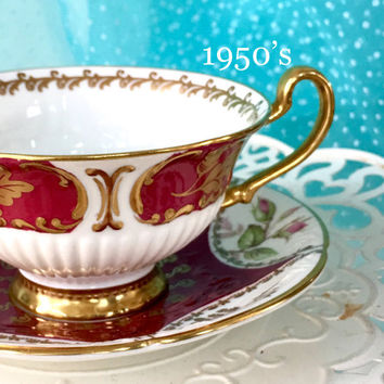 Vintage 1950's EB Foley Tea Cup and Saucer, Red, Gold, White Teacup, Antique China