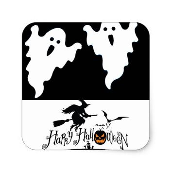 HAPPY HALLOWEEN SQUARE GLOSSY STICKERS