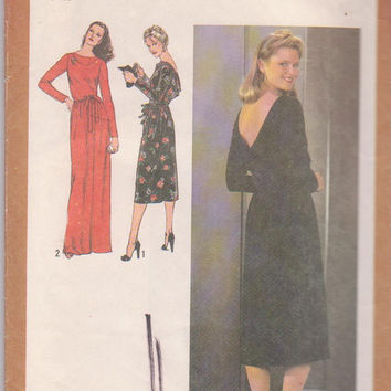 Vintage 1970s pattern for long sleeved special occasion dress with deep back drape calf or floor length misses size 14 Simplicity 9190 UNCUT